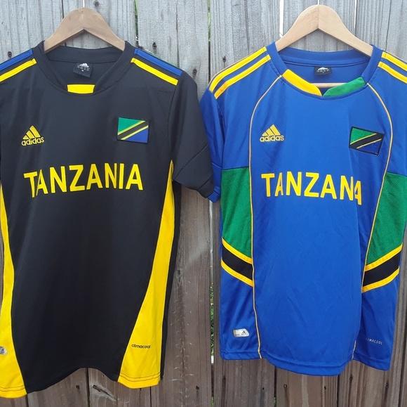 b60b0538f12b9 Lot of 2 Adidas Soccer Jersey Tanzania Size Medium